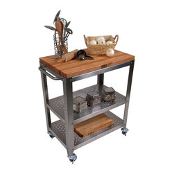 John Boos - Boos Cucina Culinarte Cart  Removable Butcher Block Top - John Boos stainless steel kitchen cart. 1.5-in-thick maple butcher block top is a removable 30 x 20-in. edge-grain cutting board. Two s.s. shelves. CU-CULART30