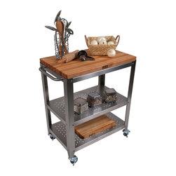 John Boos - Boos Cucina Culinarte Cart  Removable Butcher Block Top - John Boos stainless steel kitchen cart. 1.5-in-thick maple butcher block top is a removable 30 x 20-in. edge-grain cutting board. Two s.s. shelves. CU-CULART30
