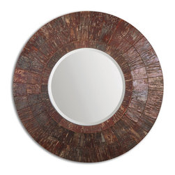 """Uttermost - Uttermost Prunus Round Bark Mirror 07066 - Frame is made of layered tiles of red peach tree bark. Due to the nature of the natural material, each piece will vary slightly in color. Mirror features a generous 1 1/4"""" bevel."""
