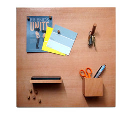 iLoveHandles - Smorgas Magnetic Wood Bulletin Board Set - SmorgasBoard is a wooden magnetic bulletin board with different wooden attachments: Pegs for your pictures and notes, Hook for your keys, Box for your pens, and Shelf for your phone and wallet.