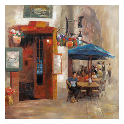 Yosemite Home Decor - Outdoor Dining II Art - Set the scene with this canvas painting of a European cafe with boldly colored outdoor umbrellas hanging flower pots and dramatic wooden entry complete with dinning customers.
