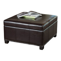 Great Deal Furniture - Drayton Espresso Leather Storage Ottoman - The Drayton ottoman is both comfortable and convenient. Upholstered in espresso bonded leather, its removable storage compartment is a great way to keep spaces clutter free and its soft padded top is perfect for additional seating.