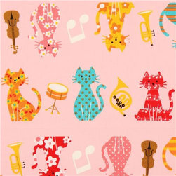 pale pink oxford cats music instruments fabric Cosmo Japan - cute animal fabric with colorful patterned cats with violin, horn, trumpet, notes etc.