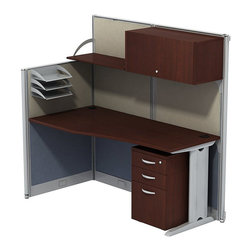 "BBF - BBF Office-in-an-Hour L-Workstation with Storage - BBF - Computer Desks - WC3649403STGK - Office-In-An-Hour gets to work as quickly as you do. It's furniture that's ready-to-go right out of the box and sets up in a snap. Easy to order and install it creates an attractive office where there once was just empty space. BBF Office-In-An-Hour Line Hansen Cherry 65""W x 65"" D L-WorkStation with Storage includes all panels and hardware to turn open environments into efficient offices. Its compact shape allows multiple configurations side-by-side as business expands. Soft-fabric back and sides let you pin posters photos notes and more. Pencil/pen/marker holder and flat-file brackets attach to side panel keeping work-in-progress at your fingertips. Hutch dual doors with self-closing European-style hinges and polished metal loop door pulls enclose upper storage area. Wire management grommets and wire raceways conceal cords and cables preventing tangles. Lockable Three-Drawer Storage with polished metal loop drawer pulls secures files and personal items. Two box drawers for supplies and one file drawer hold letter- legal- and A4-size files. Full extension ball bearing slides allow easy access to back of drawers. thermally fused laminate top surface resists scratches and stains. Durable edge banding protects against dings and dents. Includes BBF commercial quality 10-Year Warranty."