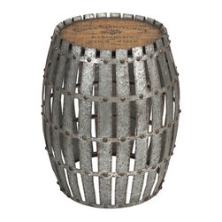 IMAX CORPORATION - Gibbs Wood and Metal Barrel - You will love the Gibbs wood and metal barrel! Constructed of galvanized, riveted metal strips with a wooden top bearing a vintage wine logo, it will lend character when used as a side table. Find home furnishings, decor, and accessories from Posh Urban Furnishings. Beautiful, stylish furniture and decor that will brighten your home instantly. Shop modern, traditional, vintage, and world designs.