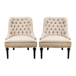 Mid-Century Slipper Chair Pair - Excellent quality pair of 1960's tufted Slipper chairs with sublime proportions. The pair are custom reupholstered in a quality oyster linen, with dark wood turned legs. Extraordinary!
