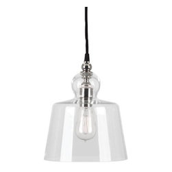 Robert Abbey Lighting - Robert Abbey Albert Pendant in Polished Nickel - Pendant in Polished Nickel by Robert Abbey.Bulb Type: ADirect WireClear Glass ShadeSusp. Hardware: 12ft. Black Fabric Wrapped CordShips with 1-40W Filament Bulb