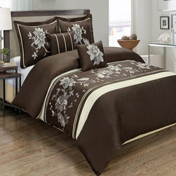 Royal Tradition - R-T Duvet Cover-Embroidered 100% Cotton- Myra Chocolate - This Myra Chocolate Duvet Cover Set is made of beautifully embroidered 100% cotton in rich colors.  The duvet has self piping (four sides) and has a hidden zipper closure by the foot.