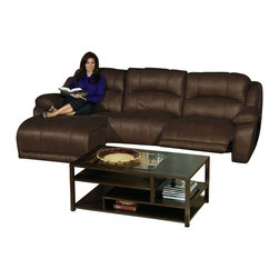 Catnapper - Catnapper Compass 3 Piece Sectional Sofa in Espresso - Catnapper - Sectionals - 1993KIT - This 3 Piece Compass Sectional by Catnapper includes LSF Reclining Chaise Armless Chair and RSF Recliner. This fully modular group is upholstered in Heavy Weight Padded 100% Polyester Espresso Fabric with Bold Elegant Luggage Stitch. This Versatile Modular Seating allows you to Customize Your Own Personal Design and lock all the pieces in place. This versatile Compass Collection offers small medium and large sectional options to meet all your needs. Matching Glider Recliner is also available.