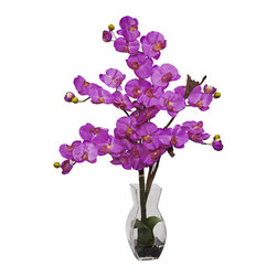 Nearly Natural - Nearly Natural Phalaenopsis w/Vase Silk Flower Arrangement in Orchid - Painting a mosaic of beauty and splendor, this remarkable floral arrangement adds a portrait of color to any room. With its beautiful and full flower petals, this will add a happy memory to whatever event it takes part in. Complete with a decorative vase filled with liquid illusion faux water, this elegant beauty will stay looking fresh for years to come.