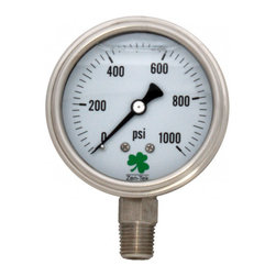 """Zenport - Zenport 0-1000 psi Glycerin 'Liquid' Filled Pressure Gauge - 0-1000 psi Glycerin 'Liquid'Filled Pressure Gauge: 2.5"""" case diameter, 1/4 NPT, bottom connection, ABS case, 372 plastic window, stainless steel internals and connection. Grade 'A' Accuracy (1.6%).All metal components are made of stainless steel to withstand high corrossive environments."""