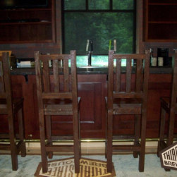 Barnwood Furniture - These barnwood bar stools were built for Third Street Brewhouse or Cold Spring Brewery. The stools were built by Viking Log Furniture.