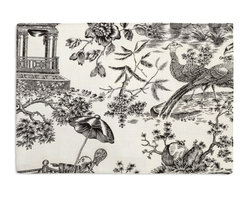 Black & White Asian Toile Custom Placemat Set - Is your table looking sad and lonely? Give it a boost with at set of Simple Placemats. Customizable in hundreds of fabrics, you're sure to find the perfect set for daily dining or that fancy shindig. We love it in this black & white oriental toile on soft ivory linen. in this timeless color pairing, this motif can range from traditional to modern--your choice!