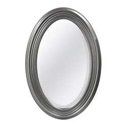 Silver Beaded Oval Wall Mirror -