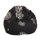 Majestic Home - Outdoor Black Coral Small Bean Bag - Who doesn't want to chill on a beanbag? This baby's bound to become the best seat in — or out of — the house. The UV-protected fabric can take the heat, and the slipcover zips off so you can toss it in the wash.