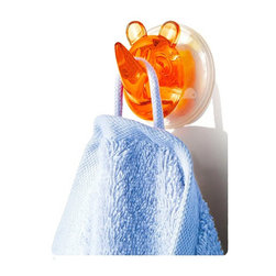 Suction Hooks - Rhino Ricco, Orange - In the wild with this one: This friendly and functional, German–made, acrylic rhino hook makes no claims to heal ailments, but can certainly limit the bathroom chaos and soggy towel syndrome created by the kiddos.