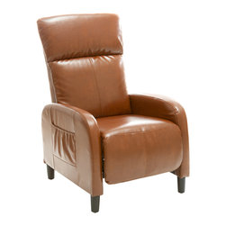 Great Deal Furniture - Trenton Leather Recliner, Hazelnut - The Trenton Recliner is a perfect piece for any room in your home. This recliner exudes luxury and comfort when both upright and in the reclining position. With its smooth bonded leather and well padded seat and backrest, the Trenton gives you both comfort and style.