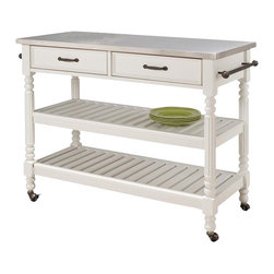 Home Styles - Home Styles Savannah Stainless Steel Kitchen Cart - Home Styles - Kitchen Carts - 521995 -The Savanna Kitchen Cart features hardwood solid and engineered wood construction in a multi-step White finish with a Stainless Steel top and dark Antiqued Bronze hardware. Two easy open storage drawers; two slotted shelves that can be used for general storage or as wine racks, the center shelf being adjustable; and two towel racks all serve as useful tools for kitchen storage and easy meal preparation. Heavy duty, locking, rubber casters allow for portability.