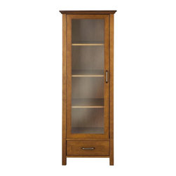 Elegant Home Fashions - Avery Linen Cabinet with 1 Door and 1 Bottom Drawer - Wood veneer with Oil Oak f - The Avery Linen Tower Cabinet with One Door and 1 Drawer from Elegant Home Fashions features an oil oak finish with an elegant crown molded top offering storage with style for your bathroom.  It also offers adjustable shelves making it easy to store items of different sizes. The metal glider drawer allows for easy open and close operation. The tempered glass-paneled doors  provides a clear view into the cabinet.  It features metal handles for easy opening. This sturdy cabinet comes with assembly hardware.