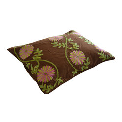 Crewel Pillow Sham Sunflower Vine Cocoa Standard (20x26)