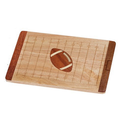 """Picnic Plus - Gridiron Football Field Serving Board - Football field """"Gridiron"""" shaped rubberwood serving, cutting and cheeseboard by Picnic Plus has laser etched yard lines and goal posts detailing and features a contrasting laser detailed football inset. Perfect size for tailgate parties, and home entertaining. Holds plenty of meats, cheeses, appetizers and crackers. Made with eco friendly and renewable rubberwood. The ultimate gift for any football enthusiast, man cave or sports fanatic!; Picnic Plus Gridiron Cutting Board;Country of Origin: China;Weight: 4 lbs;Dimensions: 15 3/4""""W x 10 1/2""""D x 3/4'H"""
