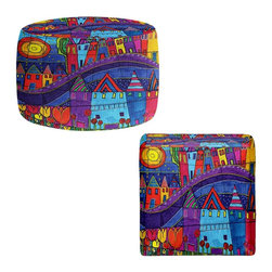 DiaNoche Designs - Ottoman Foot Stool by Dora Ficher - Purple Mountain - Lightweight, artistic, bean bag style Ottomans. You now have a unique place to rest your legs or tush after a long day, on this firm, artistic furtniture!  Artist print on all sides. Dye Sublimation printing adheres the ink to the material for long life and durability.  Machine Washable on cold.  Product may vary slightly from image.