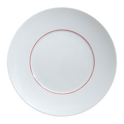 Medard De Noblat - Courant D'Air Porcelain Dinner Plate - This white plate is adorned by subtle touches of graphic red. The vibrant color only adds character to this endlessly adaptable contemporary design.