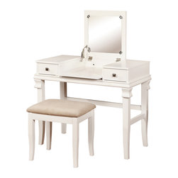 Linon Home - White Angela Vanity Set - This spacious vanity table features a flip-top design with a hidden mirror and storage area and comes with a complimenting stool to provide a sleek space for grooming.   Includes vanity table and stool Table: 36'' W x 30'' H x 18'' D Rubber wood / veneer / medium-density fiberboard / foam / polyester Some assembly required Imported
