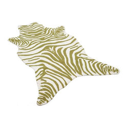 Animal Outdoor Rug, Pear - This zebra rug is a wild fit for your sunroom or porch. The hand-hooked and sculpted loops will feel luxurious between your toes.