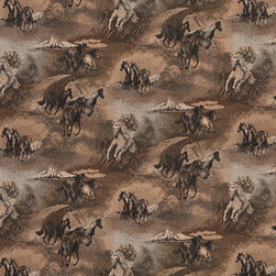 Beige Wild Horses Galloping Themed Tapestry Upholstery Fabric By The Yard - P2110 is an upholstery grade tapestry novelty fabric. This fabric is excellent for cabins, lodges, homes and commercial uses.