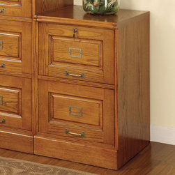 Coaster - 2 Drawer File, Oak - Perfect for any traditional home office, this secretary desk in an oak finish is both elegant and functional. Featuring turned legs, small drawers and slotted compartments for organizing your mail. Matching file cabinets also available.
