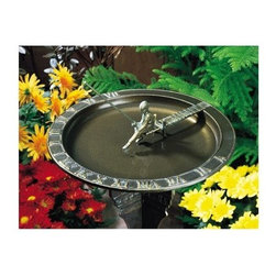 Fisherboy Sundial Birdbath - Give your garden or backyard an elegant focal point with the Fisherboy Sundial Birdbath - French Bronze. It's carefully handcrafted with detailed carvings and enhances the aesthetics of your outdoor ambience. A weather-resistant finish makes it 100-percent rust-free. This durable product is made from recycled aluminum. The statue of a fisher boy sitting on a plank acts as a captivating gnomon or shadow-caster. Made in the USA this is an absolute must-have. About WhitehallRenowned as the world's largest manufacturer of weathervanes Whitehall Products is also recognized for its extensive line of personalized home address plaques mailboxes and garden accents such as hose holders birdbaths birdfeeders and sundials. Whitehall's home accent collection includes unique indoor/outdoor clocks thermometers and personalized doormats. Behind the legend of Whitehall artistry lies the tale of a unique craft inspired by the majestic shores and woodlands of western Michigan. It was one master wood-carver's desire to reproduce and preserve his hand-carved wood sculpture in metal depicting the grace and essence of America's natural beauty. Over 65 years later Whitehall Products still offers you the same mastery in detail with each originally designed carved and hand-cast product.