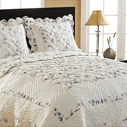 Cottage Home - Primrose Reversible 3-piece Quilt Set - This cozy bedding set features a blocked floral design on one side and a matching floral pattern on the reverse. Hand-guided stitching, intricate detail and finest quality combine in this bedding set.