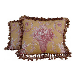 Red & Gold Floral Toile Pillows - Pair of French Floral Toile Pillows. Golden Yellow Background with a print showing an outline quilted urn with florals and grapes. Beautiful trims on all four sides. Down filled pillow. Designer hand selected fabrics and custom made.
