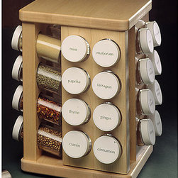 None - J.K. Adams 32 Bottle Spice Carousel - Spice carousel's hard-rock sugar maple racks turn on industrial ball-bearing swivelsSpice rack has clear-finished,smooth surfaceCarousel holds up to 32 spice bottles for easy access and use