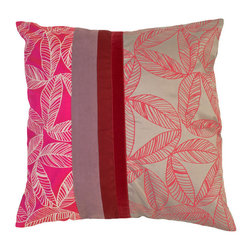 Kouboo - Foliage Silk Pillow Cover, Pink - Pink Foliage Silk Pillow Cover - The colors and patterns of your decorative pillows make them one of the most expressive elements of your home style. The foliaged motive is delicately printed onto Thai silk, where producing and weaving silk is a century old tradition. The detailed patterns, the clever combination of pink with red and silver as well as the shimmer are perfect for embellishing sofas or chairs, or incorporated into any bedroom decor.