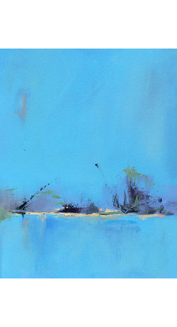Yesterday's Blues (Original) by Jacquie Gouveia - Say goodbye to yesterday's blues and embrace the new day ahead! Gorgeous contemporary landscape painting.