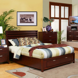 Alpine Furniture - Camarillo Storage Panel Bed - Features: -Storage footboard.-Select solids and veneer construction.-Distressed: No.-Collection: Camarillo.Warranty: -Manufacturer provides 6 months warranty.