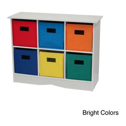 RiverRidge Home Products - White 6-Bin Bookcase Cabinet - This stylish white cabinet with six bright bins offers a versatile storage solution. This cabinet-type bookcase includes six storage bins and a top shelf for extra display or storage space.