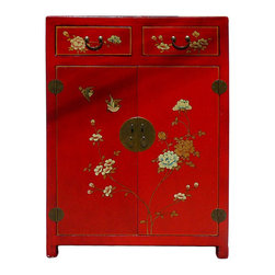 Golden Lotus - Chinese Red Veneer Leather Side Table Shoes Cabinet - This is a storage cabinet with red veneer leather oriental flower graphic covered. The shelves can be removed. It is a nice storage cabinet with narrow size.