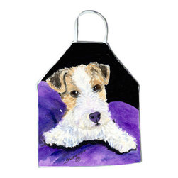 Caroline's Treasures - Fox Terrier Apron - Apron, Bib Style, 27 in H x 31 in W; 100 percent  Ultra Spun Poly, White, braided nylon tie straps, sewn cloth neckband. These bib style aprons are not just for cooking - they are also great for cleaning, gardening, art projects, and other activities, too!