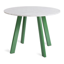 """Blu Dot - Blu Dot Right Round 42"""" Marble Dining Table, Green - Four powder coated steel legs provide a sculptural and sturdy base for a honed marble top. An easy companion to any chair, the design holds its own in the dining room, office or entryway. Legs available in either matte grass green or matte black.  Honed Carrara marble top, Powder coated steel base in matte finish"""