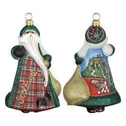 Frontgate - Glitterazzi International Scotland Santa Ornament - Each ornament takes up to 7 days to produce. Constructed of 100% European-made glass. Arrives in a handsome black lacquered box for gifting and safekeeping. Hanger is included for easy display. Our collectible Glitterazzi International Ornament from Joy to the World was created with the utmost attention to quality and detail. The finest artisans in Poland individually mouth blow and hand paint each ornament, achieving new levels of innovation and artistic integrity in their designs. Using only traditional old world production methods and materials sourced from European countries, they ensure that each ornament is an impressive work of art that will be treasured for generations. . . . . Made in Poland.