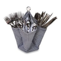 Picnic Plus Decka Utensil Caddy, Houndstooth - Who doesn't enjoy a checkered picnic blanket on a warm summer day? But if you're not an outdoorsy kind of person, you can bring the picnic inside with this houndstooth utensil caddy.
