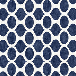 Opaque Blue Cutsom Rug - A big graphic rug such as this is a wonderful addition to any dining room setting. The boldness certainly turns up the volume of the room while the darkness would hide just about any spill.