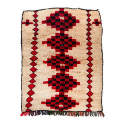 "5'5"" x 7'6"" Vintage Azilal Moroccan Berber Rug - Azilal rugs are handwoven by Berber women of the Azilal tribes in the High Atlas Mountains of Morocco. They are a fabulous and more colorful alternative to the monochromatic Beni Ourain rugs."