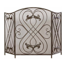 Effie Metal Flourish Fireplace Screen - *Made Of Hand Forged Metal, This Screen Features A Distressed Aged Black Finish With Chestnut Brown Undertones.