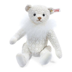 Steiff - Steiff Chantilly Lace Teddy Bear - When winter comes to the Enchanted Forest, the landscape is transformed into a white and silver paradise. From this inspiration comes Chantilly, Steiff's first lace bear. Lace is elegant and romantic and also very in fashion for winter. The lace pattern reminds us of flowers which can be seen on windows in very cold winters. The light feather boa around Chantilly's neck is reminiscent of falling snow. Her paw pads are made from sumptuous white cotton velvet. This is a very sweet and delicate bear that's perfect for the winter season. Handmade in Germany and limited to only 1,500 pieces.