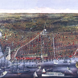 Brooklyn, NY  Birds-eye View - 1879 Wall Map Mural - Peel and Stick - A birds-eye view of the city of Brooklyn from the east river depicting the entire eastern span of  the city. This stunning panoramic map was drawn on stone by C.R. Parsons and  published in 1879 by Currier & Ives. The map features beautifully detailed  illustrations of buildings, boat traffic, and streets. Notable landmarks visible  on the map are the Brooklyn Bridge connecting the city to Manhattan, Governors  Island (recognized as the birthplace, in 1624, of the state of New York),  Greenwood Cemetery, and  Prospect Park.