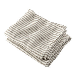 Brahms Mount - USA made Brahms Mount Linen Hand Towel, Pearl/Chocolate, Hand - Elevate the everyday. Treat yourself to the incomparably smooth hand, durability and super-absorbency of our pure linen bath and kitchen towels. Made in Maine since 1983